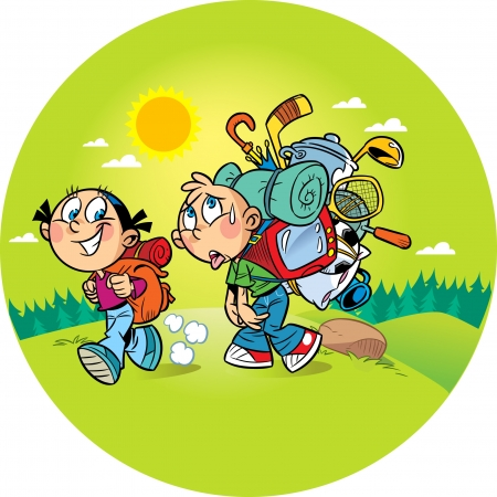 people hiking: On the illustration, the children go to a camping trip on the nature. Girl goes easily with a small backpack, a boy burdened by a heavy load and he hard to walk. Illustration done in cartoon style, on separate layers. Illustration