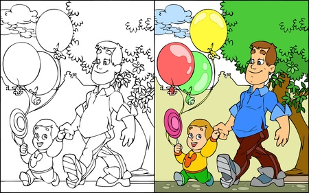 The illustration shows the father and son walking in the park. The illustration also shows a black-and-white contour variation. Illustration presented in cartoon style, on separate layers. Vector