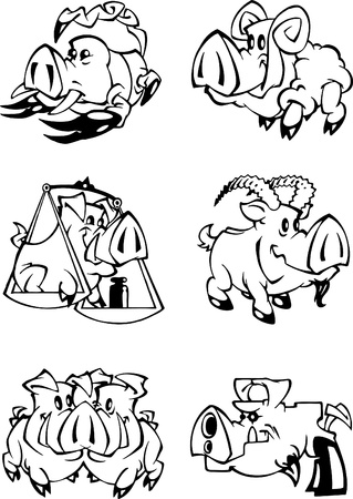 eastern zodiac: The illustration shows the representatives of the zodiac sign on the eastern calendar in the Year of the Pig. illustrations done in cartoon style, black and white outline and on separate layers.