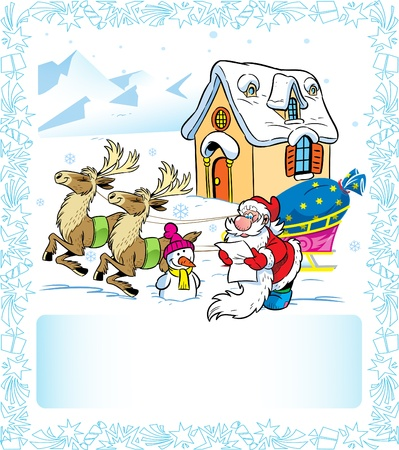 The illustration shows Santa Claus, he reads the letter. Near a reindeer sleigh and funny snowman. In the background shows home of Santa Claus and snow capped mountains. Illustration done in cartoon style on separate layers. Stock Vector - 15133663