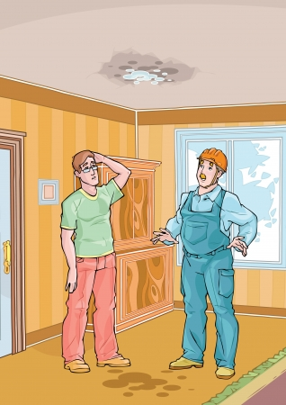 wet t shirt: Workman and his client standing in apartament with dripping roof
