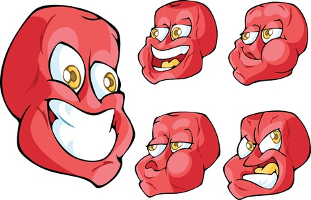 mimic: The Illustration shows oddball red yellow-eyed face in five different emotions Illustration