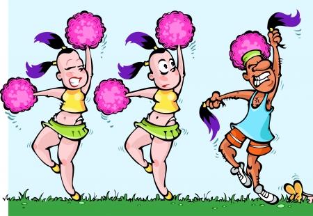 baile caricatura: La ilustración muestra dos animadoras bailarinas con pink pom-pon en armas