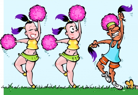 pompon: The illustration shows two dancing CheerLeaders girls with pink pom-pon in arms Illustration