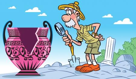 En la ilustración, un arqueólogo ancianos examina un jarrón de cristal de aumento antigua. Ilustración hecha en estilo de dibujos animados. Logos