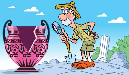 In the illustration, an elderly archaeologist examines a magnifying glass ancient vase. Illustration done in cartoon style.