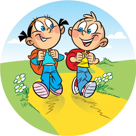 The illustration shows a boy and a girl tourists. They go on the hike. Behind them backpacks. Illustration done in cartoon style. Illustration