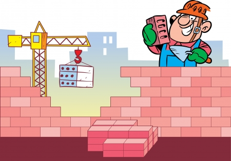 building bricks: The illustration shows the construction of the building and as a working man who puts a brick wall