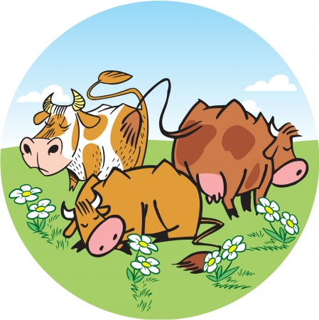 herd: The illustration shows a herd of cows. They graze on a green meadow