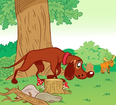 perro de caza: La ilustración muestra como un perro de caza se ejecuta en el rastro de alce en el fondo del bosque