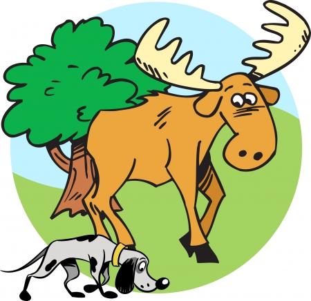 scent: The illustration shows the elk and hunting dog Illustration