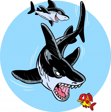 big teeth: The illustration shows two ferocious sharks in the water Illustration