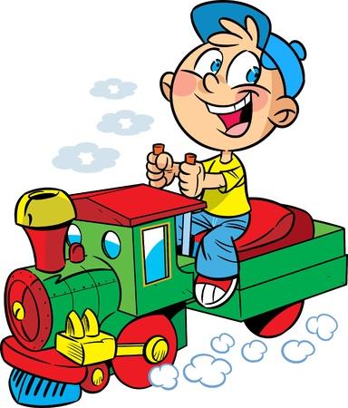 locomotora: La ilustración muestra a un niño que juega en un ingeniero locomotora de juguete. Ilustración hecha en estilo de dibujos animados.