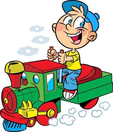 The illustration shows a boy who plays in engineer a toy locomotive. Illustration done in cartoon style.