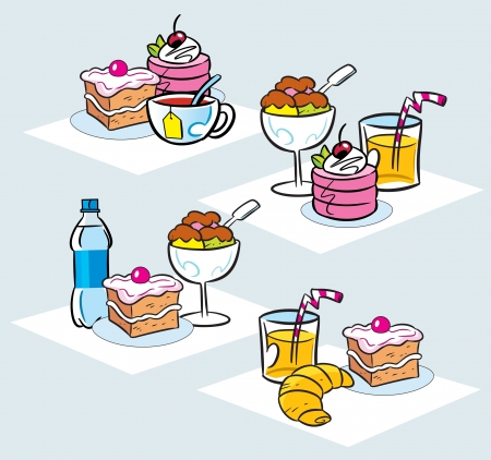 ice cream cup: The illustration shows some types of cakes, desserts, ice cream and drinks Illustration