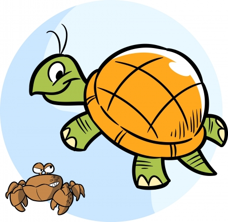 The illustration shows cartoon turtle and funny crab Vector