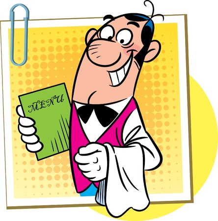 The illustration shows a male waiter in a bow tie and a towel on her arm. In his other hand he holds a menu Illustration