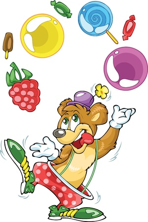 Bear clown and sweets Vector
