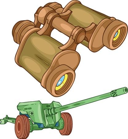 binoculars: The illustration shows the military binoculars and gun on separate layers.