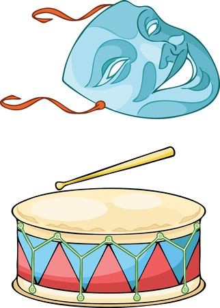 musical theater:   The illustration shows a cheerful theatrical mask and drum on separate layers.