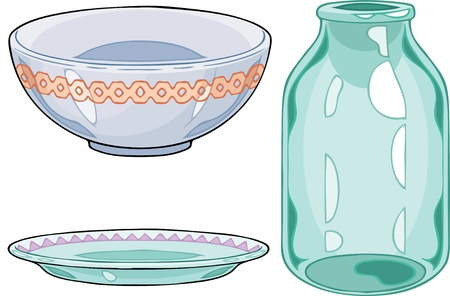 The illustration shows some types of dishes. Items of china and glassware on separate layers. Stock Vector - 16079343