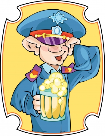 second hand:  The illustration shows a funny man in the police uniforms  In one hand he holds a mug of beer, a second hand salutes  Illustration