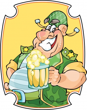 the fat man: In the illustration fat man in a military form and   In one hand he holds a mug of beer  Background is on a separate layer  Illustration