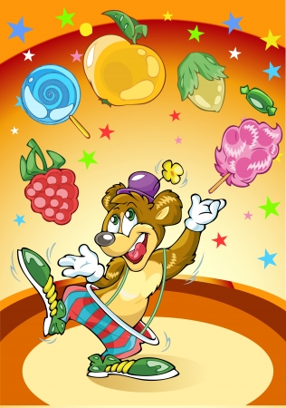 juggles: The illustration shows a circus bear  He juggles the sweets in the arena  Illustration done in cartoon style, background on a separate layer