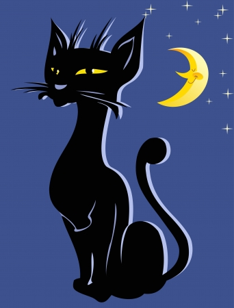The illustration shows the silhouette of a black cat in the night sky  Illustration done in cartoon style, background on a separate layer  Vector