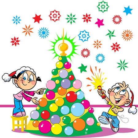 party poppers: In the illustration, the children decorate the Christmas tree  Boy and girl funny and amusing  The boy in the hands of party poppers  Illustration done in cartoon style  On separate layers and a white background