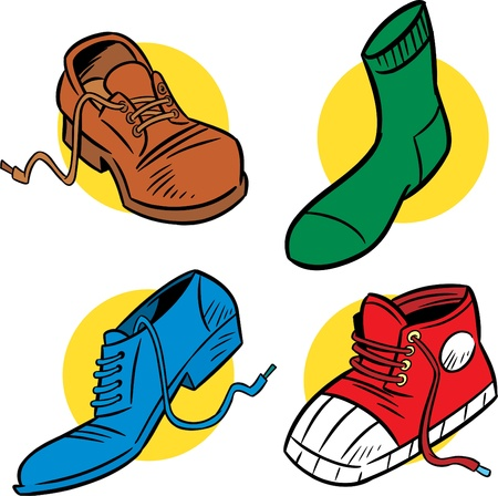 The illustration shows several shoes. Illustration is presented in cartoon style on separate layers. Illustration