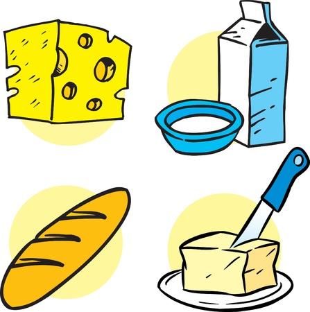 envase de leche: La ilustración muestra los productos de varios artículos. Ilustración se presenta en el estilo de dibujos animados en capas separadas. Vectores