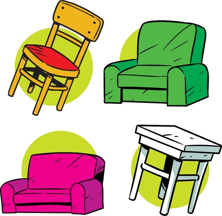 The illustration shows several items furniture. Illustration is presented in cartoon style on separate layers. Illustration