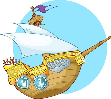 outdated: The Illustration showes old woooden pirate s boot  Wooden ship have one mast and three cannons on the board  The illustration done in cartoon style