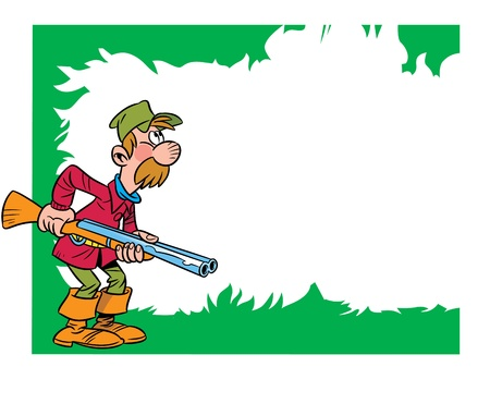 The illustration shows the hunter, who is holding a gun  Иллюстрация