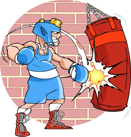 boxeador: La ilustración muestra un boxeador hombre en capacitación Él cumple golpes a un saco de boxeo Ilustración hecha en estilo de dibujos animados, fondo en una capa separada