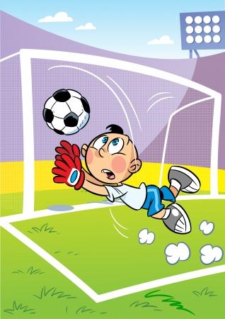 portero: La ilustración muestra al chico en el campo de fútbol Es un portero y él coge el balón en la meta del personaje se encuentra frente al estadio