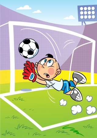 The illustration shows the boy on the football field  He is a goalkeeper and he catches the ball in the goal  Character is located against the stadium  Vector