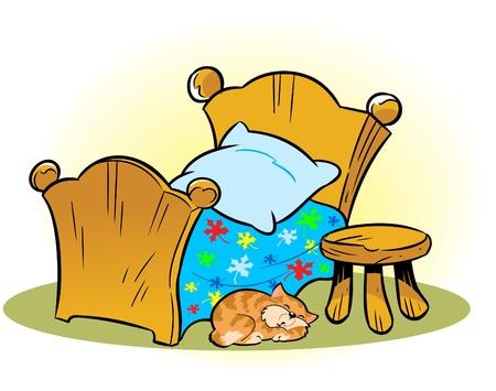 marioneta de madera: La ilustraci�n muestra una peque�a cama de madera y una silla en el suelo, durmiendo Ilustraci�n gato hecho en capas separadas en un estilo de dibujos animados