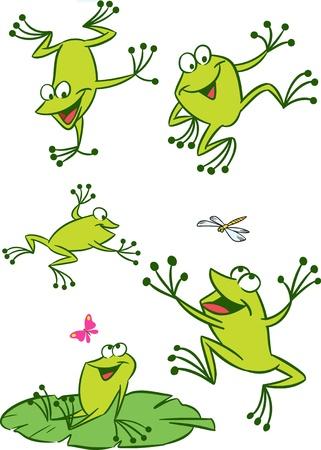 frosch: Die Abbildung zeigt einige Karikaturfr�sche in verschiedenen Posen, sowie Insekten und Seerosen Illustration
