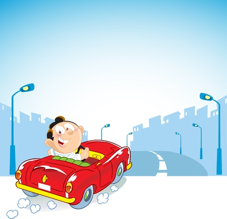 The illustration shows a man driving a car that drives into a modern city