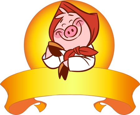 The illustration shows the cute cartoon pig in a red scarf  It rests on a decorative ribbon  Illustration done on separate layers Stock Vector - 17527165