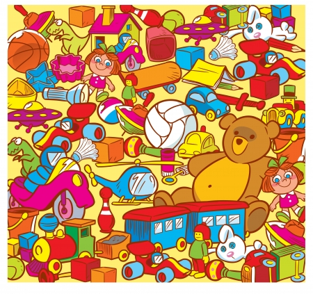 jumble: The illustration shows the big heap of colorful childrens toys  Illustration done in cartoon style