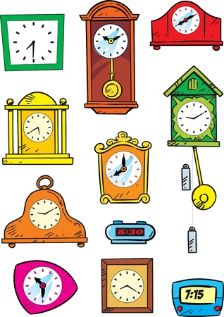 The illustration shows a wide variety of mechanical and electronic watches Illustration done in cartoon style on separate layers, on a white background Stock Vector - 17527095