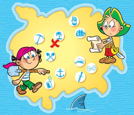 isla del tesoro: La ilustraci�n muestra a los ni�os que juegan Boy piratas y chica en ropa pirata en la isla mapa de fondo con s�mbolos Alrededor de la ilustraci�n mapa mar azul hecho en estilo de dibujos animados en capas separadas
