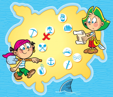 The illustration shows children playing pirates  Boy and girl in pirate clothes are on the background  map island with symbols  Around the map blue sea  Illustration done in cartoon style on separate layers