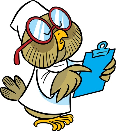 In the illustration cartoon owl doctor in a white coat and glasses  She wrote a history of disease  Vector