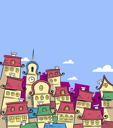 In the illustration cartoon fairytale town  Illustration is made using a clipping mask  Background on separate layer  Vector