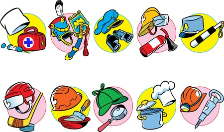 botanist: The illustration shows a wide variety of professional headgears, as well as tools, attributes, and accessories for them  Illustration done in cartoon style as separate layers on a white background