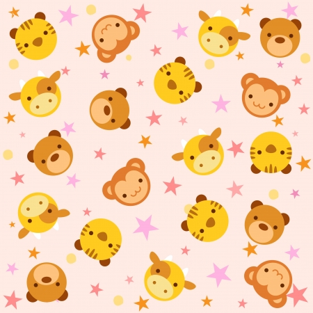 yellow tigers: The illustration shows the pattern in the babies  cartoon style with some kinds of animals  Illustration